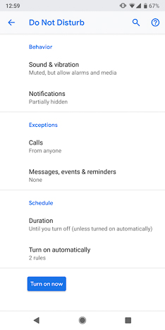 Do not disturb settings in Android P