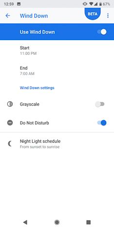 Wind Down function in Android P