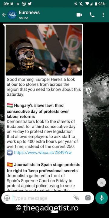 mesaj prin WhatsApp cu Euronews newsletter