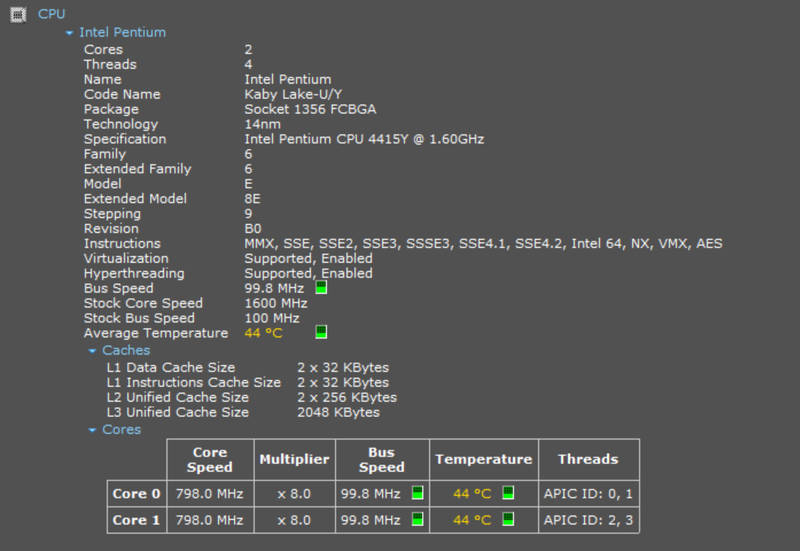 Surface GO CPU
