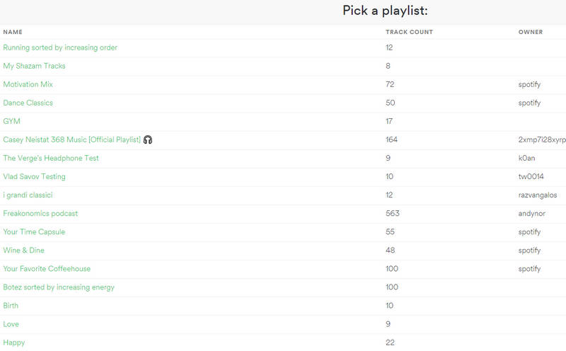 selecteaza playlist in Spotify