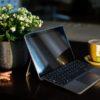 coffe, laptop, child hand