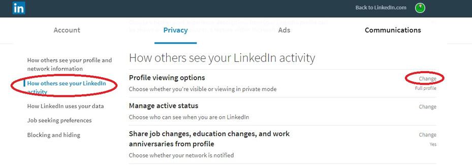 ghid Cum să rămâi anonim pe LinkedIn schimbă setări