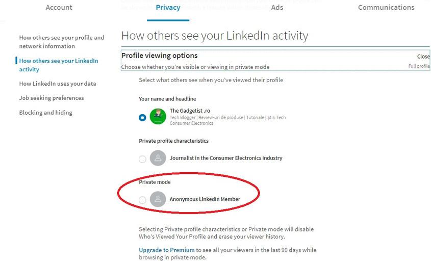 ghid Cum să rămâi anonim pe LinkedIn setări