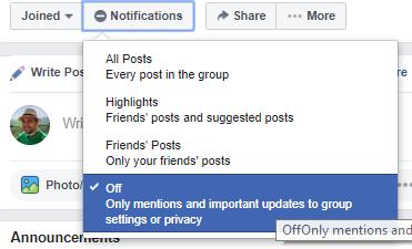 Oprește notificările pe un grup de Facebook
