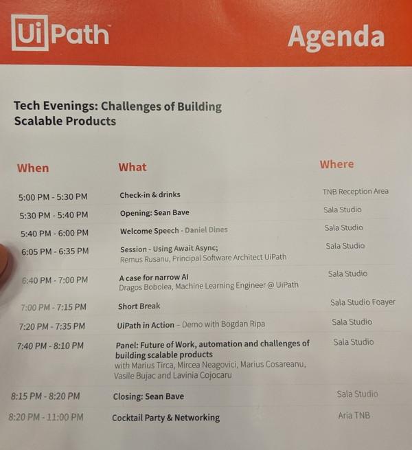 Agenda UiPath Tech Evenings Bucharest