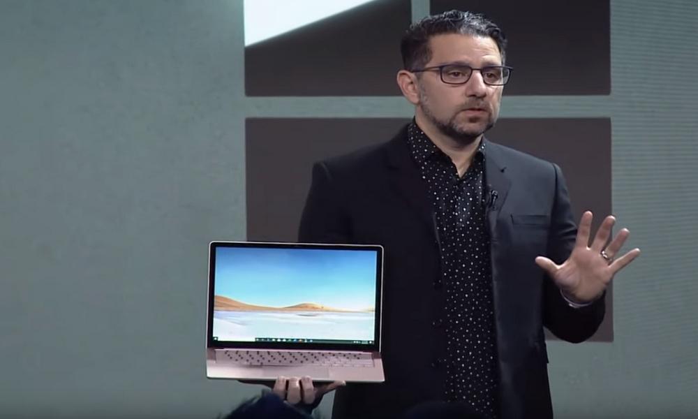 Panos Panay holding Surface laptop 3