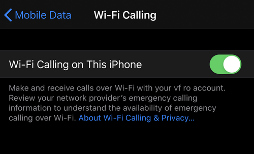 activeaza wifi calling pe iPhone