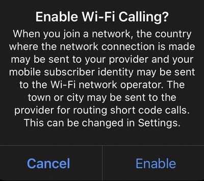 disclaimer wi-fi calling