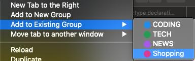 adaugă la grup existent tab-uri Chrome
