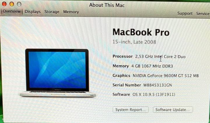 MacBook Pro 2008 specificatii