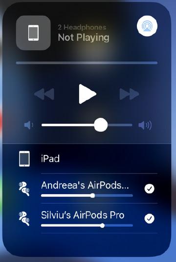 control volum separat share audio pe iPad