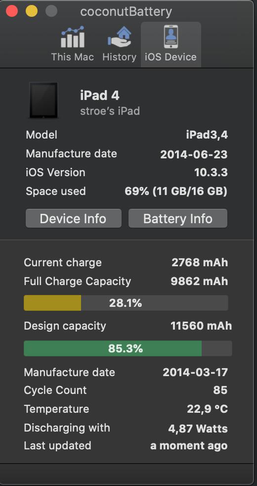 starea bateriei iPad